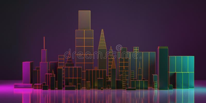 3D Illustratie De lay-out van de nachtstad met neongloed en levendige kleuren royalty-vrije illustratie