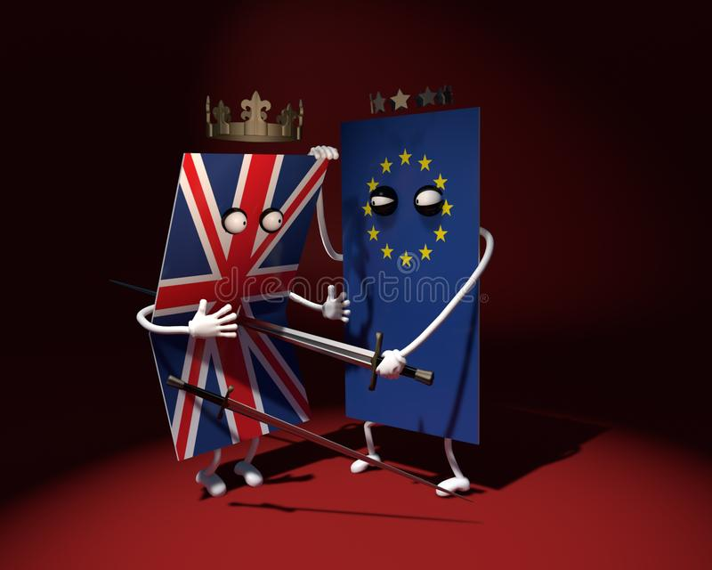 3D Illustratie De vlag van Europa slaat met een zwaard de vlag van het Verenigd Koninkrijk in duel Verraderlijke slag vector illustratie