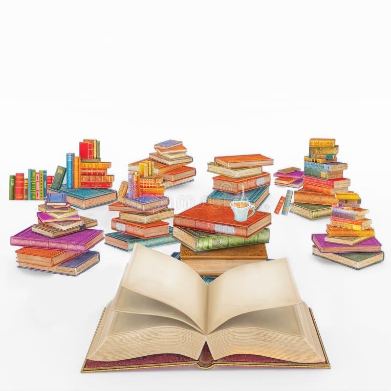 3D illustratie die beeldverhaal van vele multi gekleurde uitstekende boeken teruggeven stock illustratie