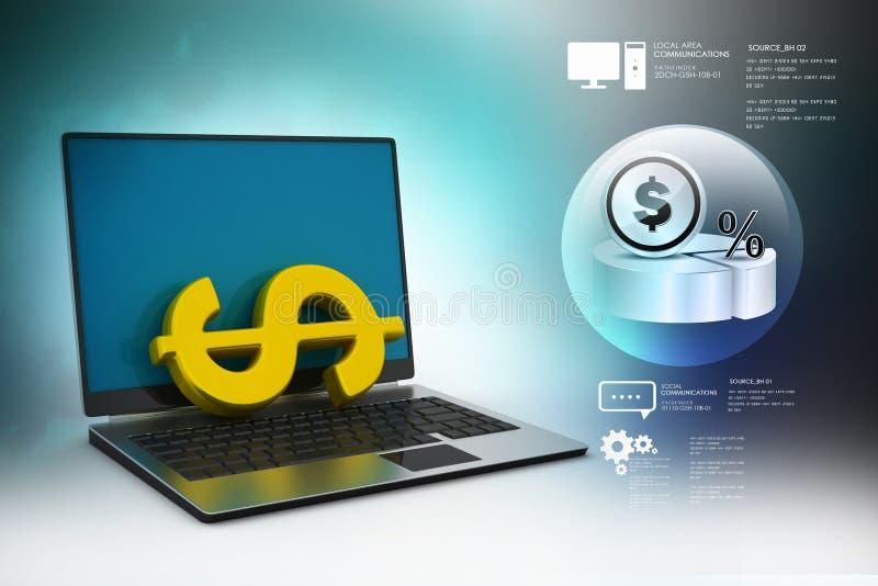 3d illustratie die van Online geld concept maken vector illustratie