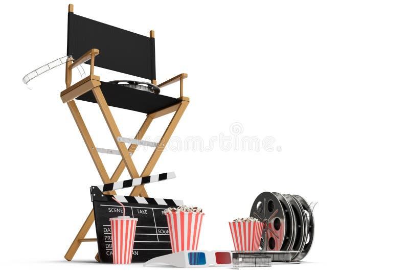 3D illustratie, directeursstoel, filmklep, popcorn, 3d glazen, filmstrook, filmspoel en kop met sprankelende drank vector illustratie
