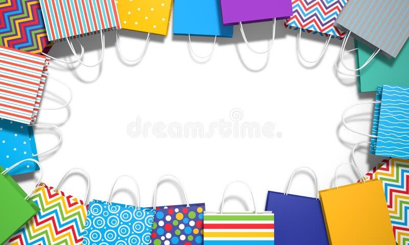 3d illustratie Diverse gekleurde zakken op witte achtergrond vector illustratie