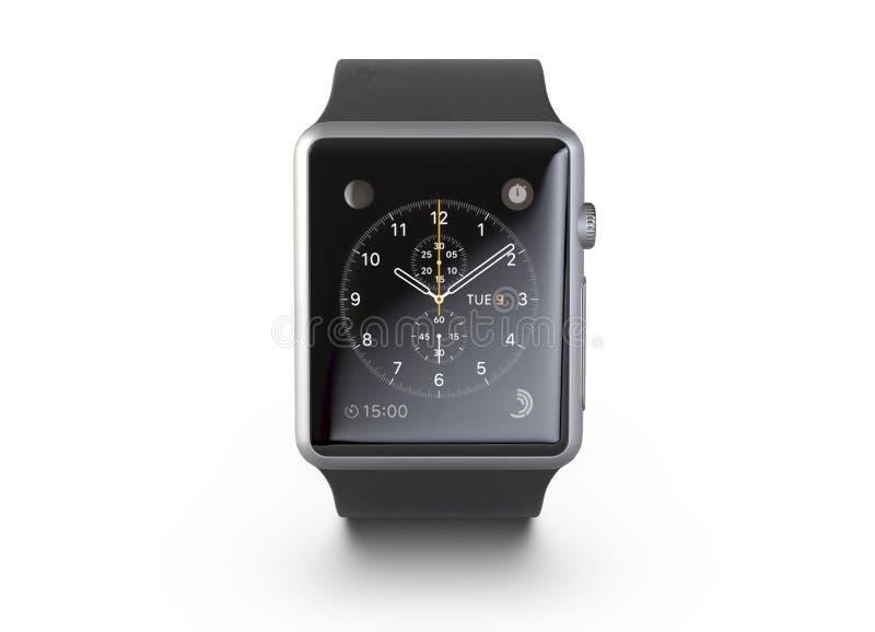 3D illustratie Draadloos die Smart Watch op witte achtergrond wordt geïsoleerd stock illustratie