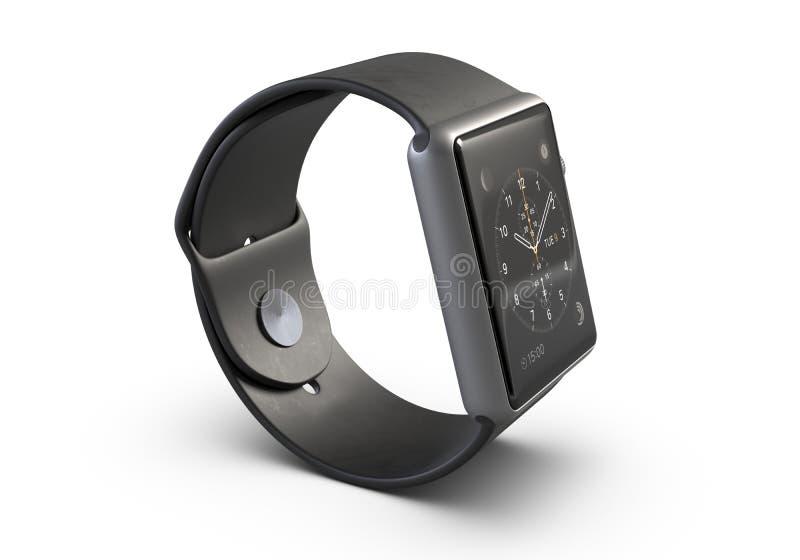 3D illustratie Draadloos die Smart Watch op witte achtergrond wordt geïsoleerd royalty-vrije illustratie