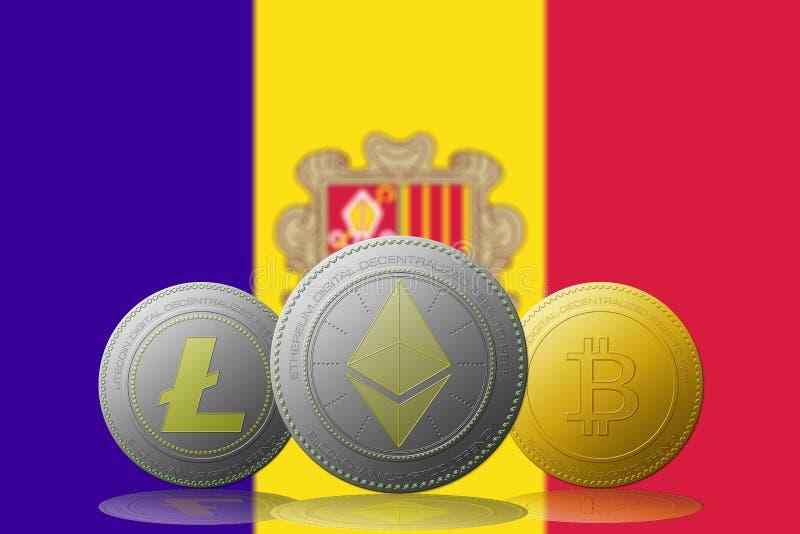 3D illustratie Drie cryptocurrencies Bitcoin Ethereum en Litecoin met ANDORRA markeert op achtergrond stock illustratie