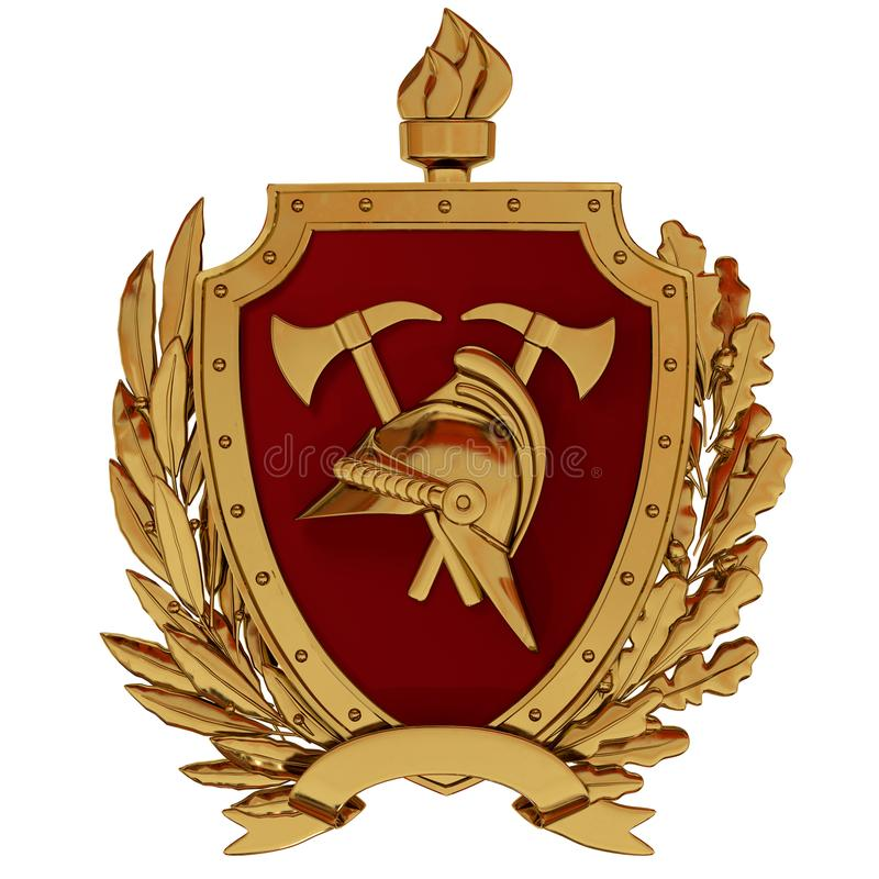 3D Illustratie Embleem van brandbestrijders De gouden uitstekende helm, assen, rood schild, toorts, olijf vertakt zich stock illustratie