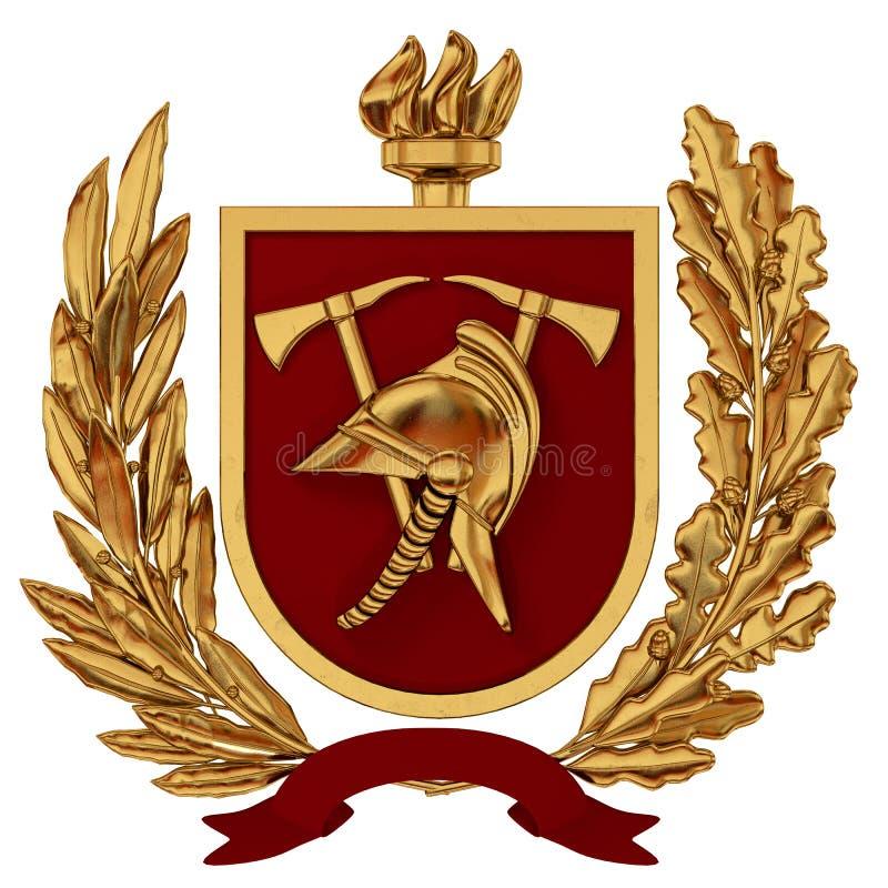 3D Illustratie Embleem van brandbestrijders Gouden helm, assen, rood schild, toorts, olijftakken stock illustratie