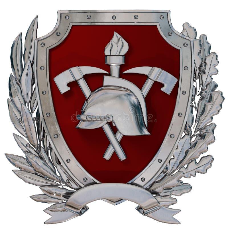 3D Illustratie Embleem van brandbestrijders Zilveren antieke helm, assen, rood schild, olijftak, eiken tak vector illustratie