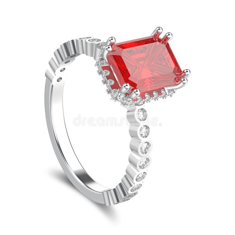 3D illustratie geïsoleerd witgoud of zilveren diamanten vector illustratie