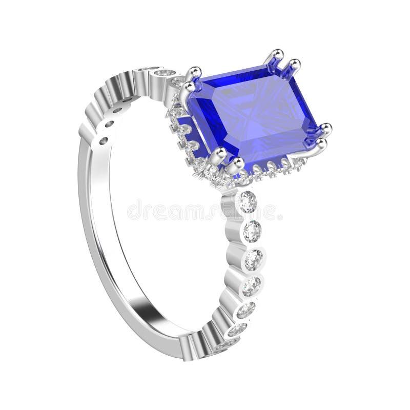 3D illustratie geïsoleerd witgoud of zilveren diamanten decorativ royalty-vrije illustratie