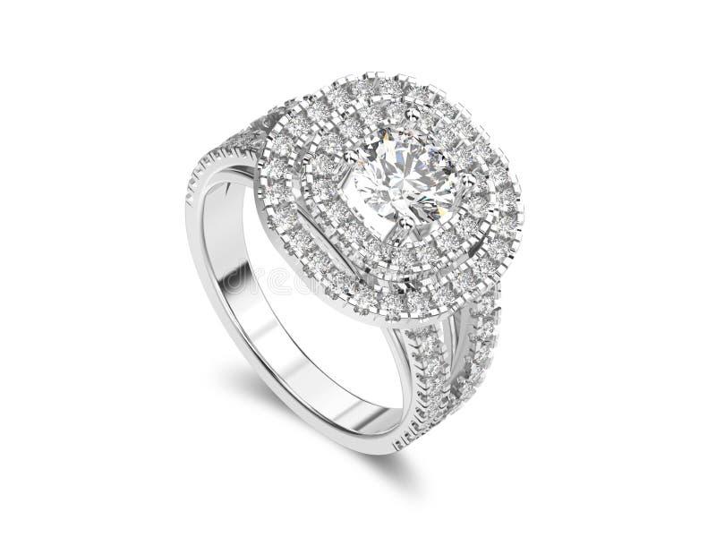 3D illustratie geïsoleerd witgoud of zilveren ring met diamanten stock illustratie