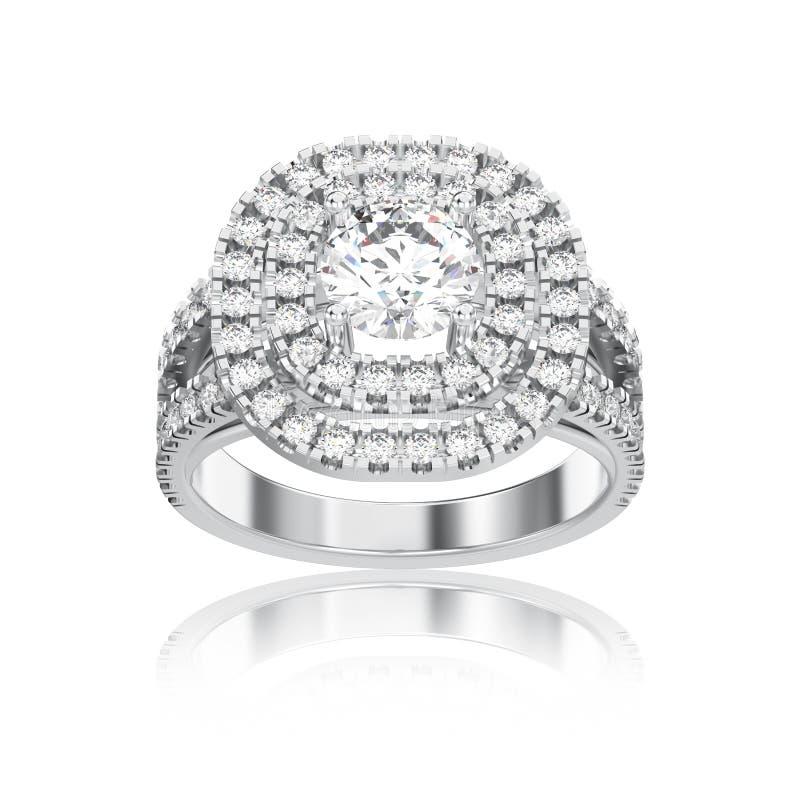 3D illustratie geïsoleerd witgoud of zilveren ring met diamanten royalty-vrije illustratie