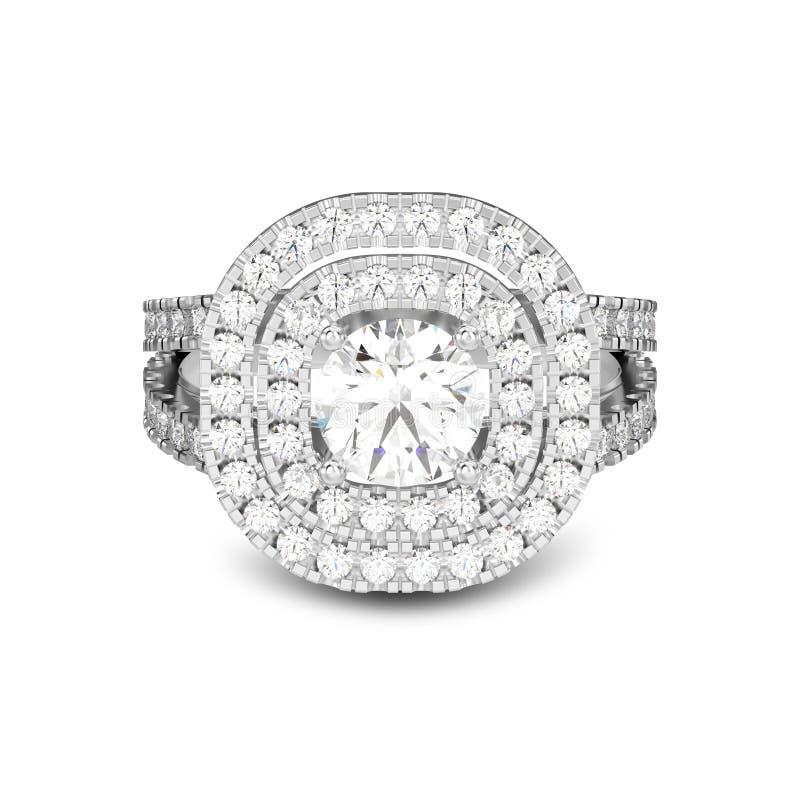 3D illustratie geïsoleerd witgoud of zilveren ring met diamanten vector illustratie