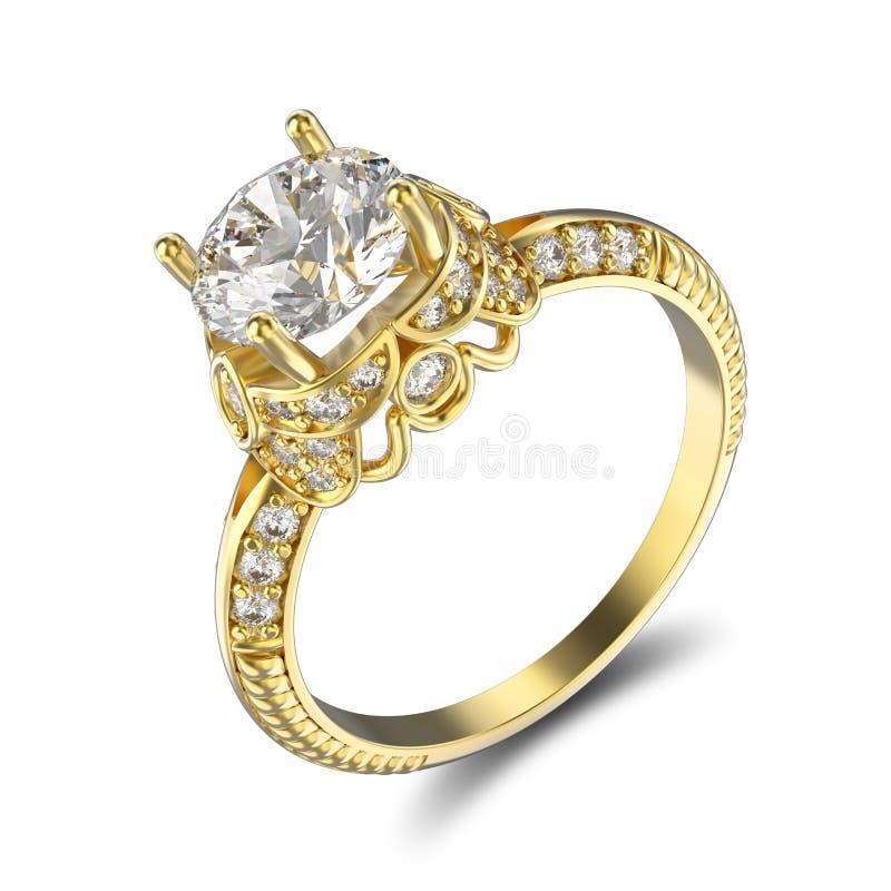 3D illustratie gele gouden ring met diamanten en ornament stock illustratie