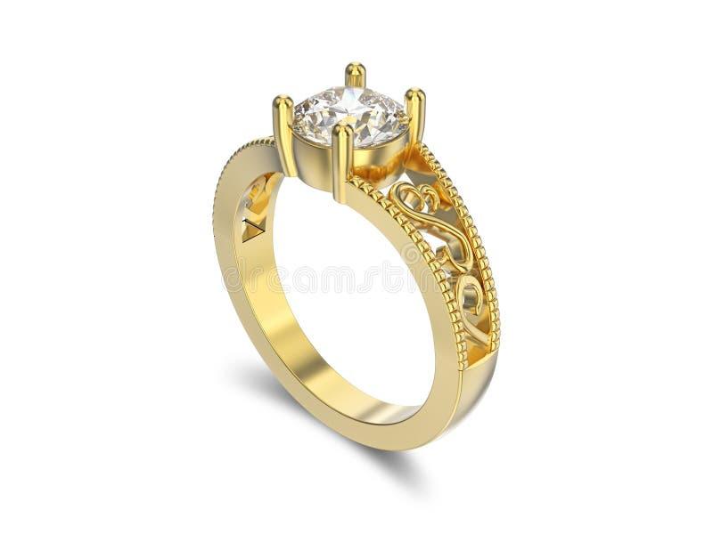 3D illustratie gele gouden ring met diamanten en ornament met vector illustratie