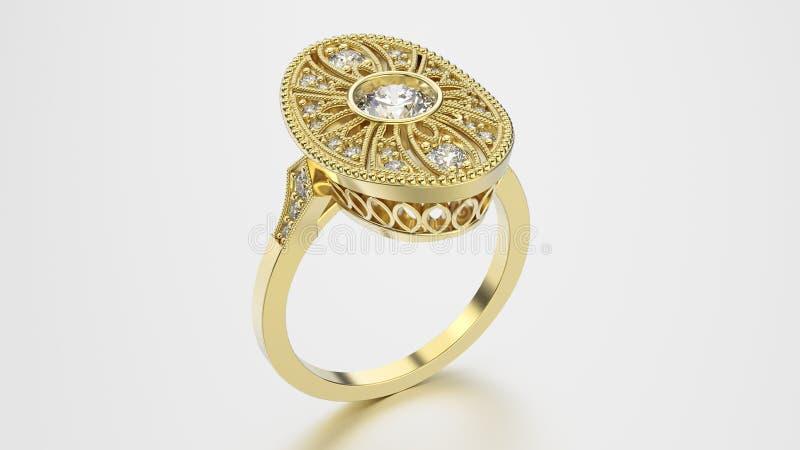 3D illustratie gouden etnische ring met diamanten en ornament stock illustratie