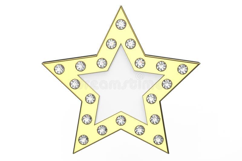 3D illustratie gouden ster met diamanten royalty-vrije illustratie
