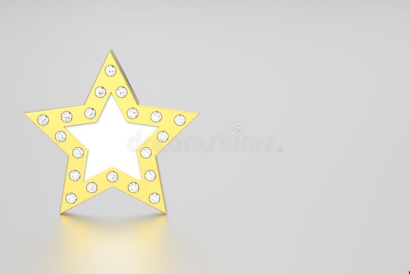 3D illustratie gouden ster met diamanten stock illustratie