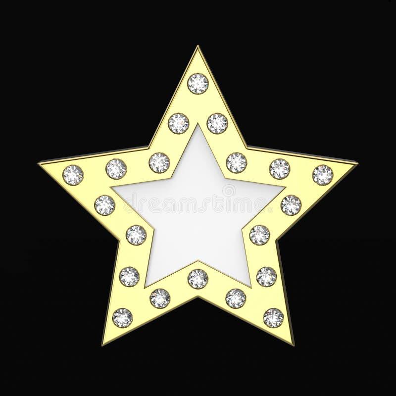 3D illustratie gouden ster met diamanten vector illustratie
