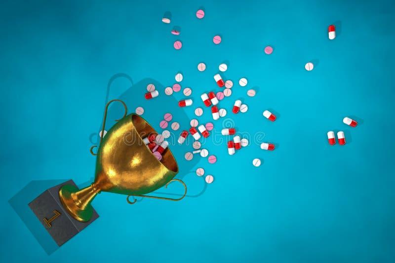 3d illustratie: Gouden winnende die kop met pillen en stimulansentablet op de vloer van het voetstuk op blauwe achtergrond wordt  vector illustratie