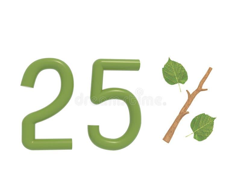3d illustratie groene die tekst met bladeren en een stok wordt ontworpen vector illustratie