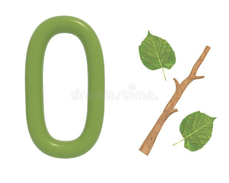 3d illustratie groene die tekst met bladeren en een stok wordt ontworpen royalty-vrije illustratie