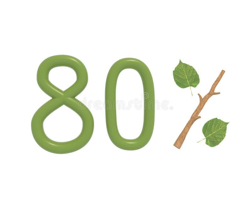 3d illustratie groene die tekst met bladeren wordt ontworpen en een de percentenpictogram van de stoktak op witte achtergrond wor royalty-vrije illustratie