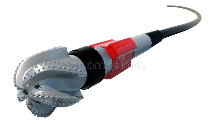 3D Illustratie Het beetje van de rolkegel en draad Geïsoleerde stock illustratie