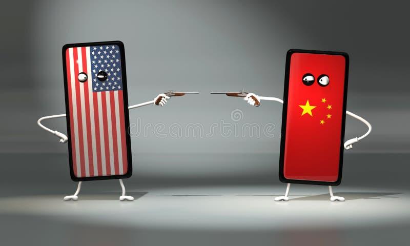 3d illustratie het duel op de pistolen tussen de Amerikaanse en Chinese telefoon royalty-vrije illustratie