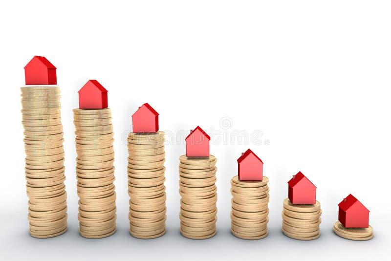 3d illustratie: hoog - kwaliteit die teruggeven: Hypotheekconcept Rode huizen op stapels gouden die muntstukken op wit Metaal wor vector illustratie