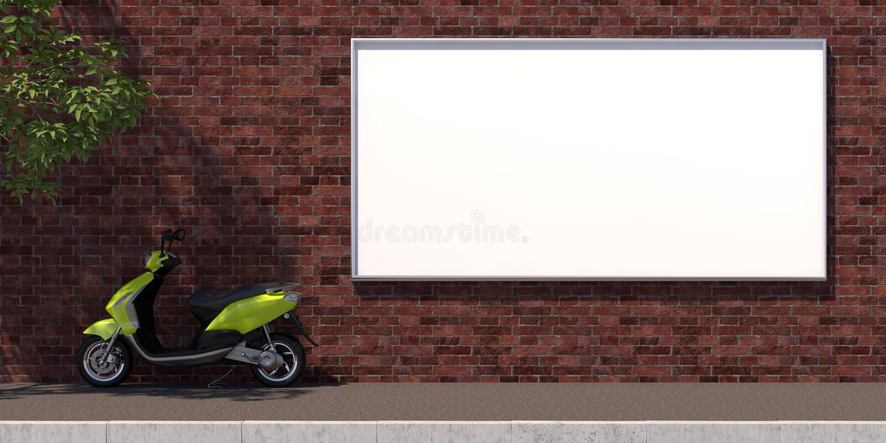 3d-illustratie horozontal leeg reclameaanplakbord op bakstenen muur stock illustratie
