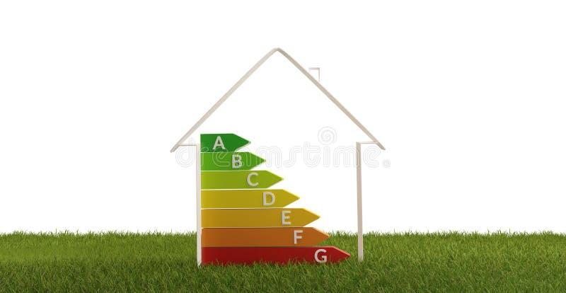 3d-illustratie huisenergierendement royalty-vrije illustratie