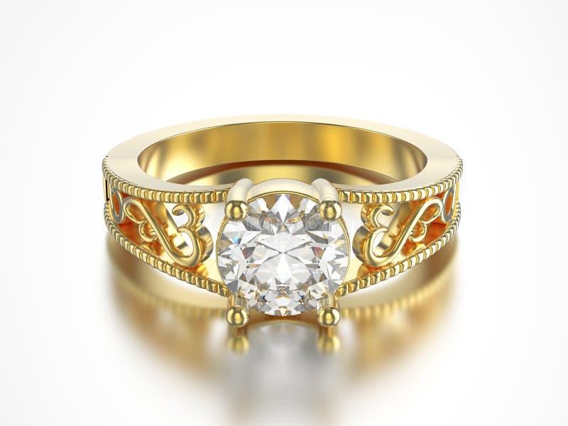 3D illustratie isoleerde gele gouden ring met diamanten vector illustratie