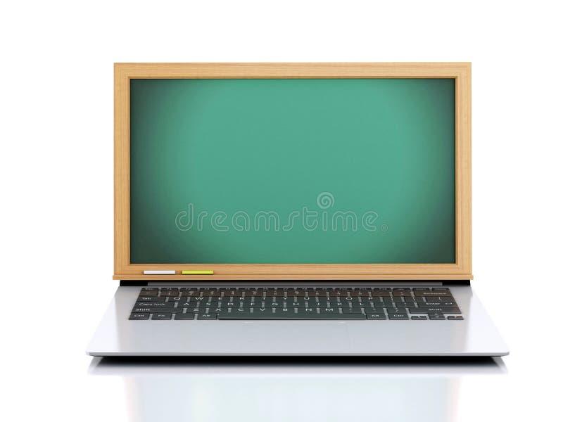 3D Illustratie Laptop met bord op witte achtergrond stock illustratie