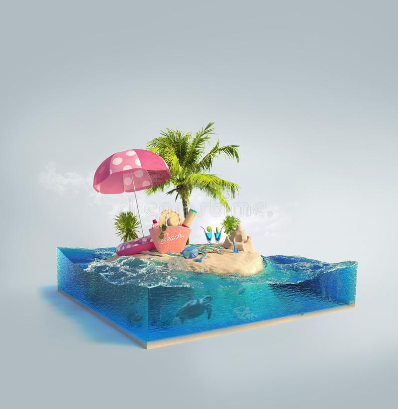 3d illustratie met besnoeiing van het overzees en het mooie eiland stock illustratie