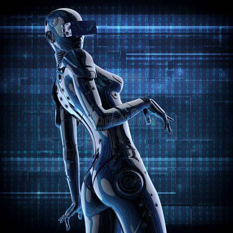 3D Illustratie Modieus chromeplated cyborg de vrouw vector illustratie