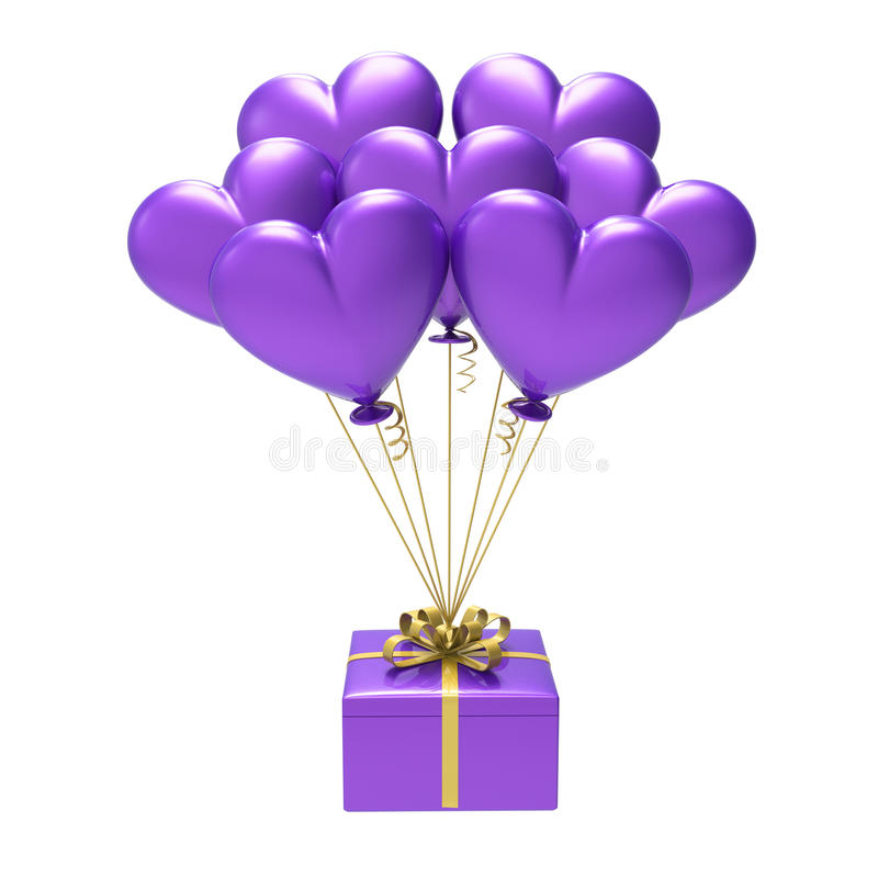 3D illustratie purpere gift en van de hartenlucht ballons vector illustratie