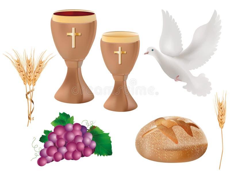 3d illustratie realistische geïsoleerde christelijke symbolen: houten miskelk met wijn, duif, druiven, brood, oor van tarwe stock illustratie
