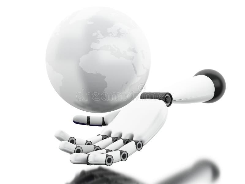 3D Illustratie Robotachtige hand die bol tonen royalty-vrije illustratie