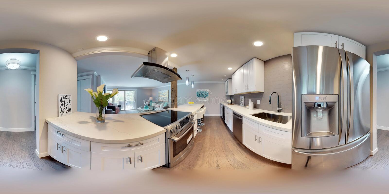 3d illustratie sferische 360 graden, een naadloos panorama van keuken stock foto's