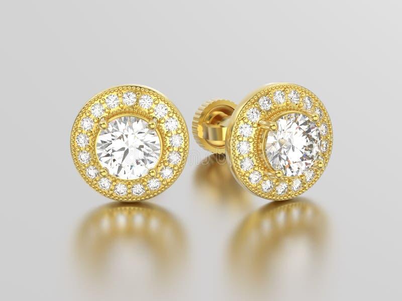 3D illustratie twee gele gouden diamantenoorringen met reflectio royalty-vrije illustratie