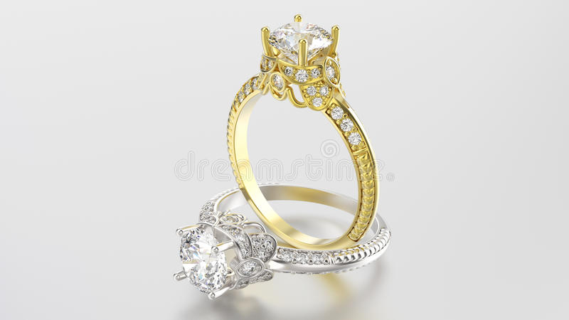 3D illustratie twee gouden en zilveren ringen met diamanten royalty-vrije stock afbeeldingen
