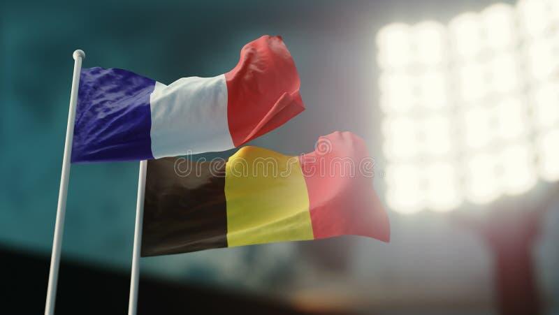 3D Illustratie Twee nationale vlaggen die op wind golven Nachtstadion Kampioenschap 2018 Voetbal Frankrijk tegenover België stock illustratie