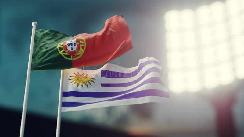 3D Illustratie Twee nationale vlaggen die op wind golven Nachtstadion Kampioenschap 2018 Voetbal Portugal tegenover Uruguay vector illustratie