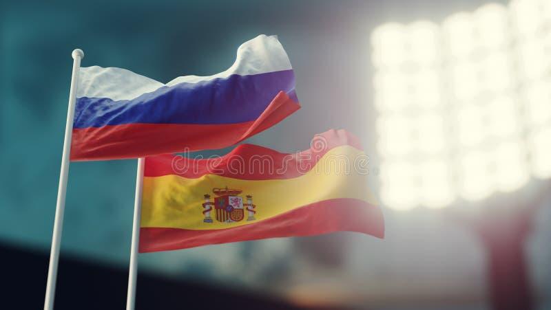 3D Illustratie Twee nationale vlaggen die op wind golven Nachtstadion Kampioenschap 2018 Voetbal Rusland tegenover Spanje stock illustratie