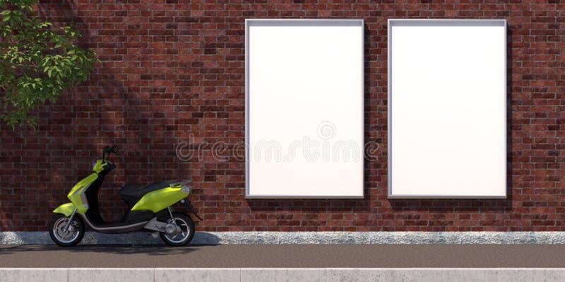 3d-illustratie twee verticaal leeg reclameaanplakbord op bakstenen muur stock illustratie