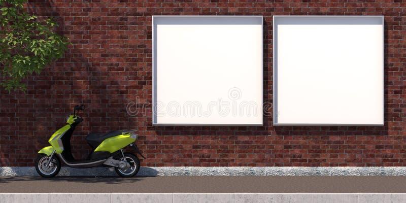 3d-illustratie twee vierkant leeg reclameaanplakbord op bakstenen muur royalty-vrije illustratie