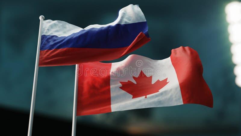 3D Illustratie Twee vlaggen die op wind golven Internationaal verhoudingenconcept De ROEISPAAN van Rusland Canada royalty-vrije illustratie
