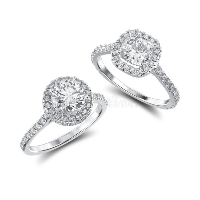 3D illustratie twee witgoud of zilveren ringen met diamanten royalty-vrije illustratie