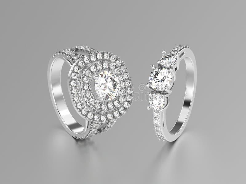3D illustratie twee witgoud of zilveren ringen met diamanten vector illustratie
